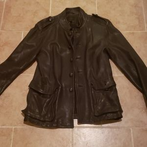 Banana Republic Mens Leather Military Jacket